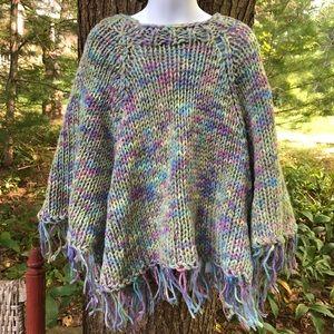 HANDMADE Girls Knitted Poncho